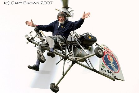 Ken Wallis flying  no hands.